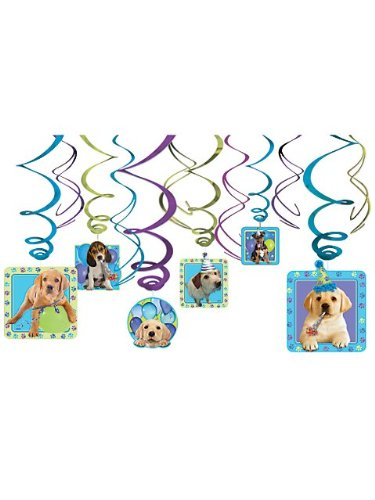 Puppy Party Hanging Swirl Decorations (12pc)