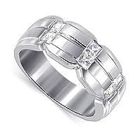 Silver Princess Cut Clear CZ Ring Wedding Band Size 6
