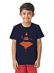 Mintees 100% Combed Cotton Boy's Graphic Print Navy Colour Tshirt MBRNT-04-044_8-9Yrs