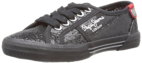 Pepe Jeans Unisex-Child Baker Black Lace-Up Flats PFS30723 1.5 Child UK, 34 EU