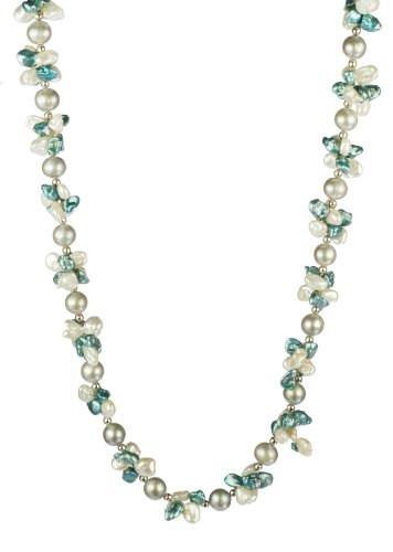Aqua and White Keshi Cultured Pearl with Grey Potato Freshwater Cultured Pearl Necklace, 18