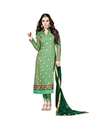 Amyra Women's Georgette Dress Material (AC787-03, Green)