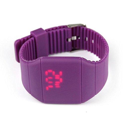 Zps(Tm) Waterproof Men Women Digital Led Touch Sports Silicone Bracelet Wrist Watch (Purple)