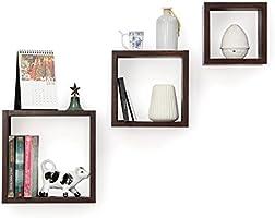Forzza Kate Wall Shelf, Set of 3 (Matte Finish, Wenge)