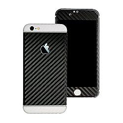 Kapa Full Body Dual Tone Carbon Fiber Vinyl Skin Sticker Cover for Apple iPhone 6 / 6S - Black Body White Highlights