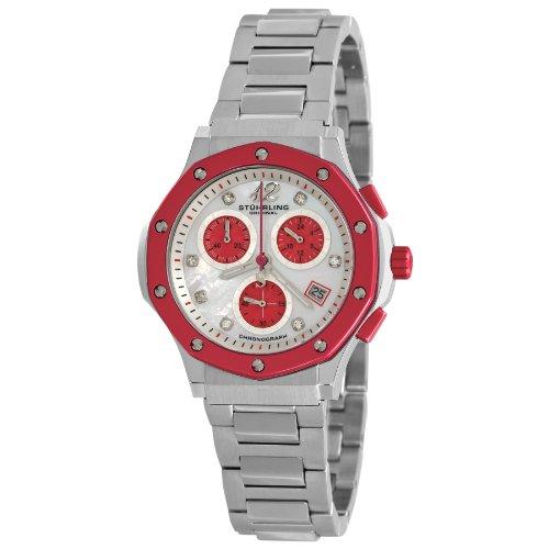 Stuhrling Original Women's 180.121147 Ladies Lifestyles Nemo Chronograph Quartz Swarovski Crystals Date Stainless Steel Watch