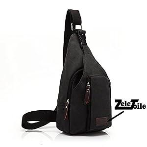 ZeleToile® BS-03 New Fashion Triangle Bag Chest Bag Canvas Backpack Cross Body Bags Satchel Men's Shoulder Bag Leisure, Size: 34CM×20CM×9CM (Black)