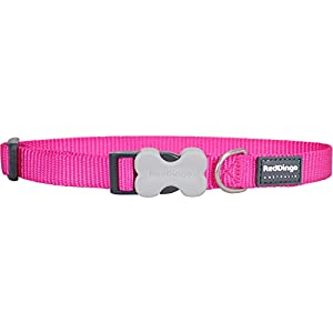 Red Dingo Plain Hot Pink Dog Collar  (12mm x 20-32cm)