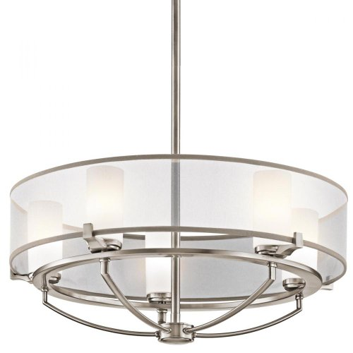 B006QEJ258 Kichler Lighting 42921CLP 5-Light  Saldana Pendant, Classic Pewter Finish with Etched Opal Glass Diffuser and Translucent Organza Fabric Shade
