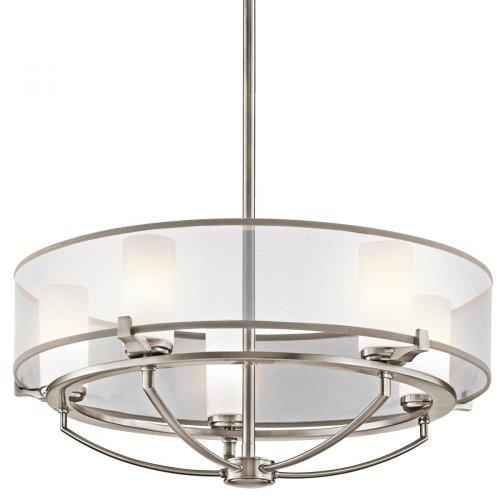 Kichler Lighting 42921CLP 5-Light  Saldana Pendant, Classic Pewter Finish with Etched Opal Glass Diffuser and Translucent Organza Fabric Shade Kichler Lighting B006QEJ258