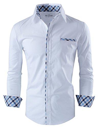 Tom's Ware Camicia-Premium casuale interno Vestito a strati-Uomo TWNMS310S-1-WHITE-M