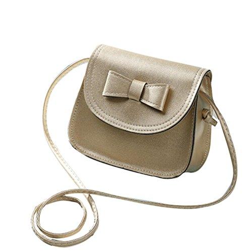 Borsa a tracolla Clode® Donne Bowknot Moda Borsetta di Pelle Singola Spalla Messenger Bag Phone (Colour : Oro)