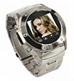 VIP Quad Band Stainless Steel FM Radio Watch Cell Phone Silver