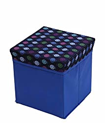 Kuber Industries Dots Multi Purpose Foldable Cloth Big Storage Stool Seat Box (Colour and Print might vary according to availibility)