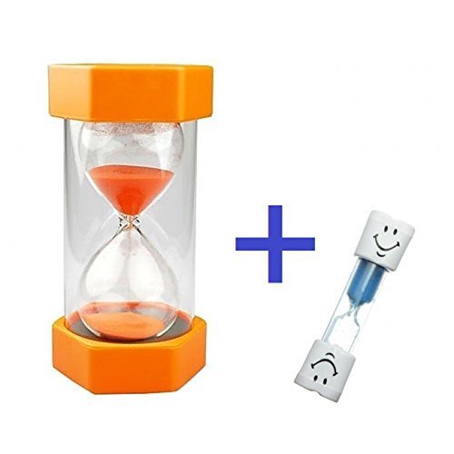 Safe & Simple 5 Minute Sand Timer + Bonus BLUE 2 Minute Toothbrush Timer. Large, Durable, Orange Hourglass for Kids + Exclusive Guarantee + Bonuses (Visual Timer For Toddler compare prices)