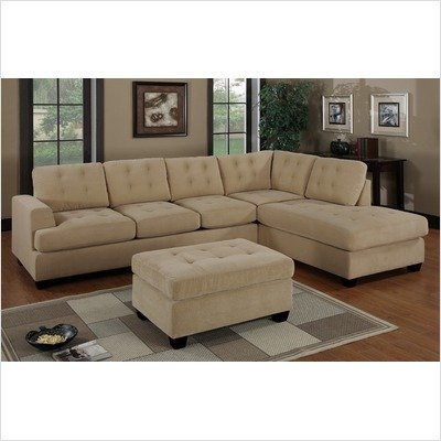 Bobkona 2 piece waffle suede sectional sofa with square for Bobkona atlantic 2 piece sectional sofa