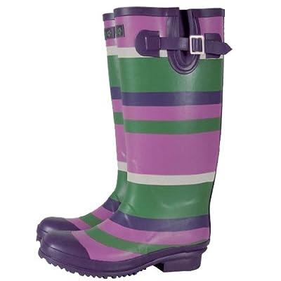 Tayberry Purple Stripe Ladies Wellington Boot