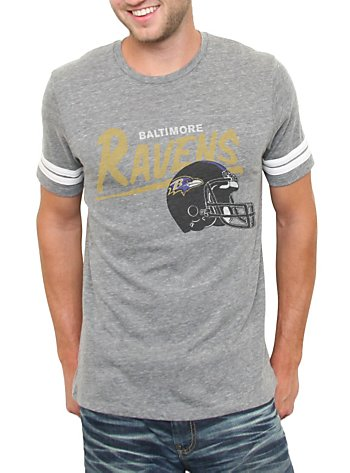 Junk Food NFL Baltimore Ravens Throwback Striped Sleeves Tri-Blend Mens T-Shirt: Clothing