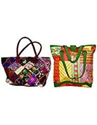 Indistar Combo Offer Women's Multicolor Cotton Handbag (Combo Pack Of 2) - B01IVWEZT0