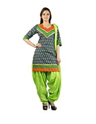 Rama Set Of Green-Orange Color Kurti With Green Color Patiala & Duppatta