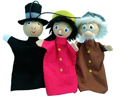 Au Sycomore - MAST300 - Coffret de Trois Marionnettes avec Livre d'Histoire - Trio Pinocchio, Gepetto, Jimini Cricket