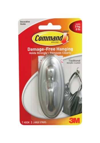 3M Command 17053BN Traditional Large Plastic Hook with Metalic Brushed Nickel Finish