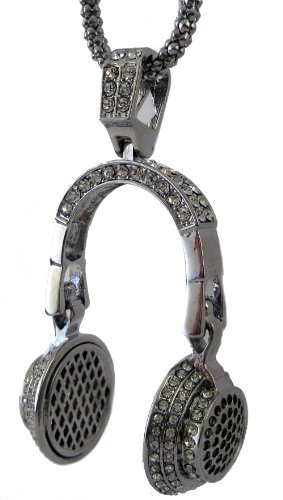 Iced Silver Plated 3D Bling Headphones Pendant & Hiphop Chain
