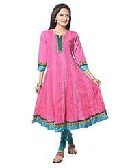 Pink Booti Cotton Printed Anarkali Suit