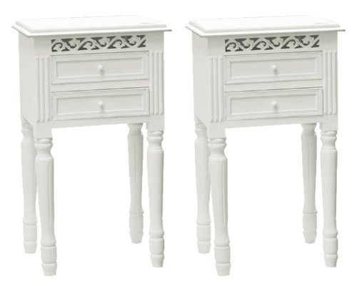 Belgravia Shabby Chic Two Drawer Bedside Table x 2