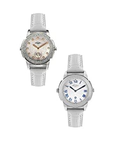 Rotary Revelations Women's Quartz Watch with Silver Dial Analogue Display and White Leather Strap ELS0012/TZ2/06/21