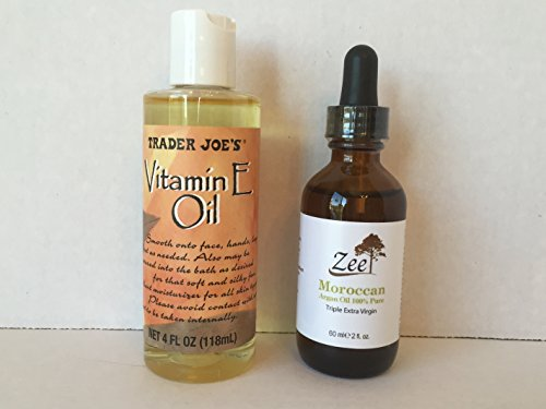 Trader Joe's Vitamin E Oil and Zee Triple Extra Virgin 100% Organic Moroccan Argan Oil. A Luxurious Any Day Gift Bundle (2 Items) (Amway Spot Remover Spray compare prices)