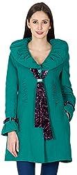 PRIKNIT Women's Shawl Collar Jacket (Green, X-Large)