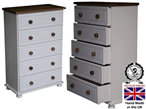 Drawers White Painted Waxed 5 Drawer Chest Pine Bedroom Furniture