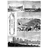 Grabado antiguo (1877) - Xilografía - Mérida.- Ruinas De Construcciones Romanas (23x32), Lopez Alegría, José