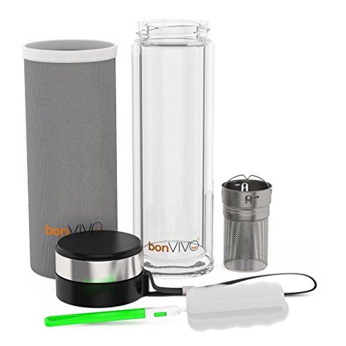 bonvivo vitalitea glas trinkflasche mit thermo funktion und tea filter 0 45 liter in schwarz. Black Bedroom Furniture Sets. Home Design Ideas