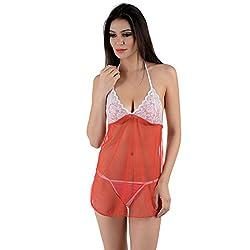 NImra Fashion Red Lace Tranasparent Sexy Babydoll (Free)
