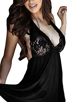 FIYOTE Women Halter Lace Top Open Back Sexy Lingerie Babydoll with G-string