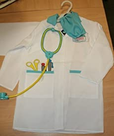 ELC DOCTOR'S OUTFIT AND STETHOSCOPE MEDICAL COAT FANCY DRESS UP AGES 3-6 YRS