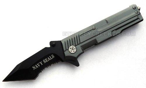 "Pk-748Ngy "" Navy Seals "" Rescue Style 0Xf4G200 Gun Shape Spring Assist ""4.5"""""" W/Clip Folding Knife Steel Sharp 2Lyp47W60Y30 Edge Blade Pocket"