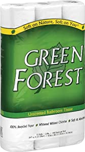 Green Forest Unscented Bathroom Tissue, 100% Recycled Paper, Whitened Without Chlorine, 12 Roll Packs (Pack of 8)