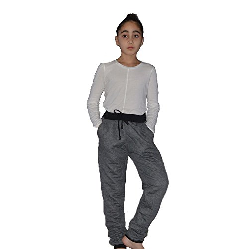 Girls Quilted Joggers Pants Black Charcoal S
