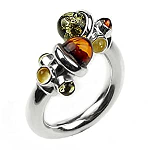 Multicolor Amber and Sterling Silver Adjustable Designer Ring, Sizes 5,6,7,8,9,10,11,12