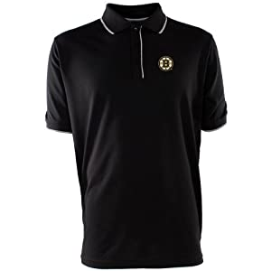NHL Boston Bruins Men's Elite Xtra Lite Polo, Black/White, X-Large