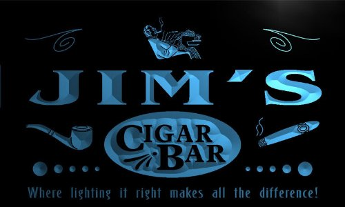 Qz153-B Jim'S Cigar Bar Pipe Beer Wine Lounge Neon Light Sign