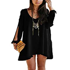 78baf3a9c42 Clothing. Roiii Women Off Shoulder V-Neck A-Line Mini Strapless Loose Casual  Dress Plus