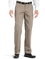 Lee Men's Stain Resistant Relaxed Fit Flat Front Pant, Olive, 32W x 34L