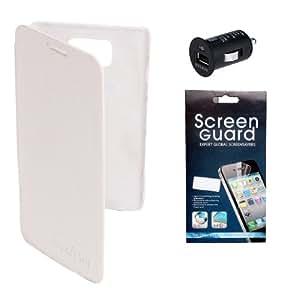 KolorEdge Flip Cover + Screen Protector + Bcc For Smasung Galaxy S2 - White