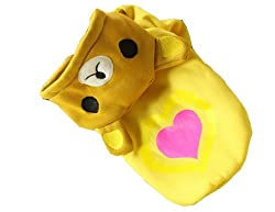 Demarkt Cute/Lovely Dog Cat Puppy Bear Hoodie Costume with Double Love Heart Print Clothes Pet Apparel Superdog Dress Up Pet Supplies Golden Yellow Size L