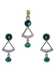 Gehna Glass Filled Emerald Bead Studded Pendant & Earrings Set