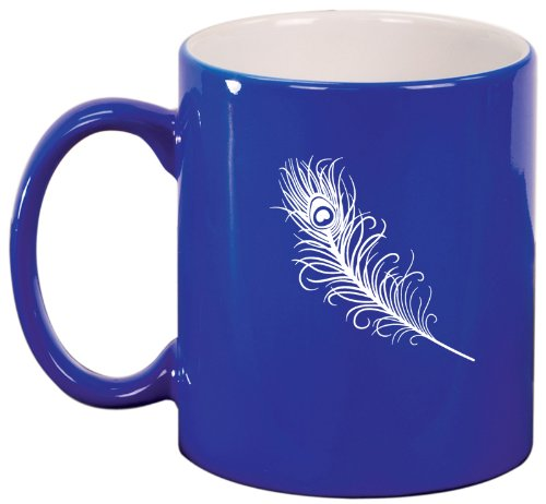 Blue Ceramic Coffee Tea Mug Peacock Feather